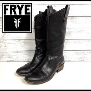 Frye Carson mid calf black pull on boot